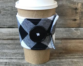 Black and White Flannel Coffee Cozy