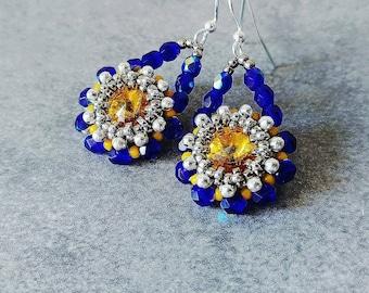 Swarovski earrings / colorful earrings / elegant earrings/ yellow earrings / bridal jewelry / blue earrings