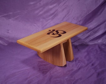 Adjustable tilt style meditation stool  (atms-yp-OM )  Hand Crafted  Yoga meditation stool   Made on request
