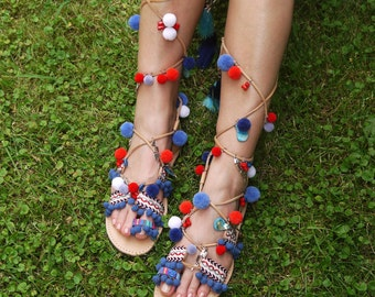 "Tie Up Gladiator Sandals, Boho sandals, Pom pom Sandals,Greek Leather Sandals,Handmade Strappy Sandals, ""Thalia"""