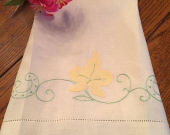 Linen Tea Towel Vintage Floral Kitchen Towel