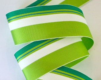 "Grosgrain Ribbon - 1 1/2"" - Acetate Stripes in Greens and White  - 1, 2 or 3 yards"