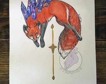 Crystal Fox - Original Artwork - Painting,watercolor,acrylic,ink,fox,animal,gold,gems,unique,decor,art,artist,animal,stones,witchy,fantasy