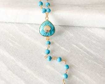 Gold plated necklace pearls and turquoise pendant with shell