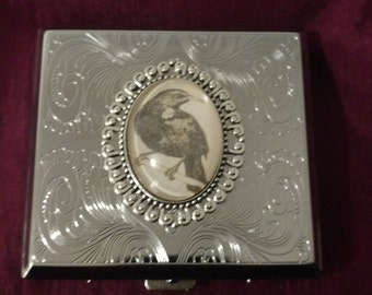 Nevermore Raven silver Gothic Stainless Steel cigarette case / wallet / card holder