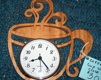 Coffee Decor, Unique Wall Clock, Kitchen Clock, Wall Clock, Coffee Clock, Kitchen Wall Clock, Coffee Gift, Wood Clock, Coffee Wall Clock