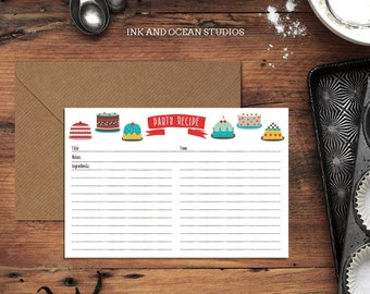 Pack of 5 - Cake Recipe Cards