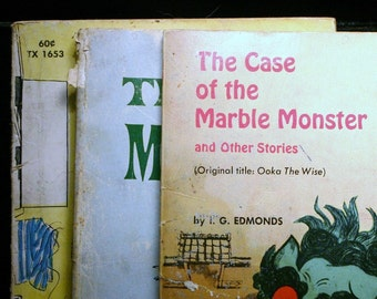 SET Vintage Children's Books Ephemera Moonball Marble Monster Mysteries Mystery Illustrated Chinese Folktales Williams Nash Yamazaki