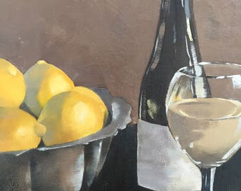 WINE WITH LEMONS original still life oil painting,fruit still life,lemons art,wine art