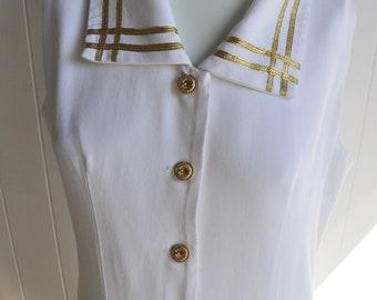 1940s-Style Nautical Sailor/Navy Dress, Size 14/Plus, White & Gold, Sleeveless/Drawstring/Buttons/Pinup/Monroe/Vintage/Summer/Maxi/Wedding
