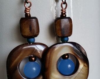 MOTHER-OF-PEARL Dangle Earrings Brown and Blue Long Earrings. Shell Disc Earrings with Blue Beads. Hypoallergic Earrings.