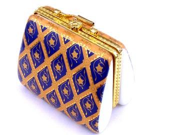 Vintage purse jewelry box-beautiful blue gold porcelain-small trinket box