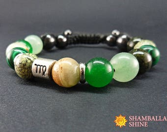 Virgo bracelet Zodiac jewelry Virgo constellation Astrology gift  Virgo women gift  Birthstone bracelet September birthstone Green bracelet