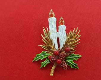 Art Signed Candle  Brooch  Holiday Season Shining Colors Arthur Pepper Spirtual  Seasonal