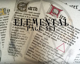 WICCAN Book of Shadows Page Set ~Four Elements~