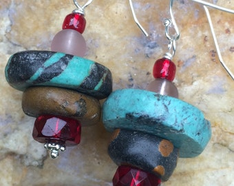 Dangle Earrings With Turquoise and Ruby