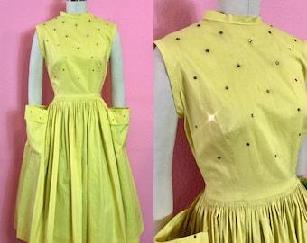 Vintage 1950s Dress • Rhinestone 1950s Yellow Day Dress with Pockets • M