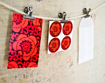 Vintage Indian Block Print MINI CARD Set  - Darjeeling Limited - Gift Wrapping - Place Cards - Gift Tags - Escort Cards