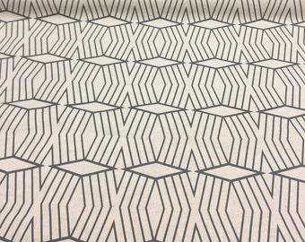 Cotton Canvas Diamond Stripe Stone White/Slate West Elm Fabric by the yard  Multipurpose