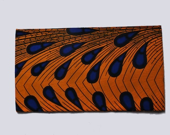 orange and blue african wax print ankara head wrap | african scarf