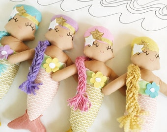 Molly Mermaid Cloth Rag Doll - MADE TO ORDER