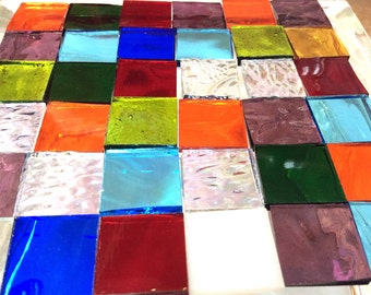 "OPAL 3/4"" GRAB BAG Mosaic Mix MultiColor Stained Glass Tile i-5"