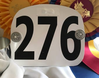Faux Silver and Crystal  Number Magnets