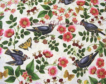 Birds & Floral Fabric~Midnight Sun~By the 1/2 yd or yard~cotton~Robert Kaufman~Ivory~14668-