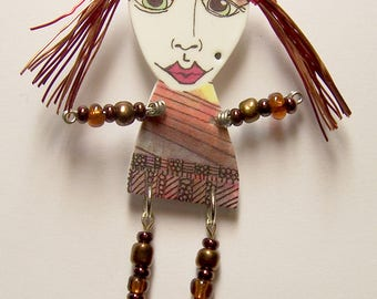 Bead and Wire Embellished ART DOLL ~ Handcrafted Hand Drawn OOAK Wearable Art Jewelry by Jennifer Obertin