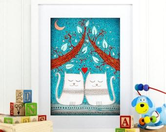 "Original Childrens Drawing - Cats - 8.5x12"" up to 24x34"" Nursery Art Print, Kids Room Wall Decor, Illustration"
