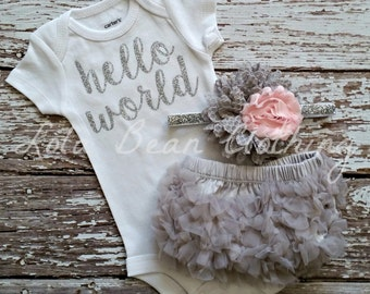 Hello World Take Home Outfit Baby Girl Take Home Outfit Newborn Baby Girl Hello World Bodysuit Grey Bloomers Pink & Grey Headband Set