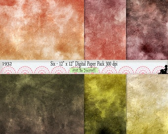 12 x 12 inch Grungy Orange Mauve Green Painted Background Papers Set of 6 Digital Prints JPEG Commercial Use Background Papers 1932