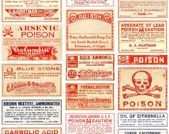 POISON - Digital Printable Collage Sheet - Antique Apothecary Labels, Vintage Poison Labels, Pharmacy, Laboratory, Medical, Instant Download