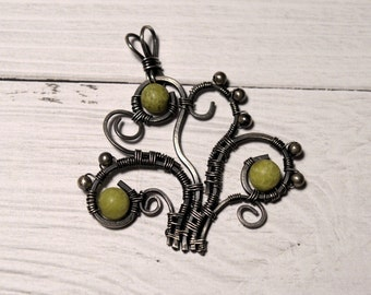 Tree of Life Pendant with green jade gemstones, Silver Tree Pendant, gift for her