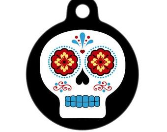 Pet ID Tag - Día de Muertos Skull Pet Tag, Dog Tag, Cat Tag, Luggage Tag, Child ID Tag