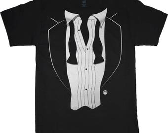 Tuxedo shirt men's tux tee casual wedding