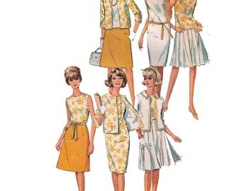 "Simplicity 5927, 60s sewing pattern, size 16 bust 36"" women's collarless dress pattern, A-line skirt pattern"