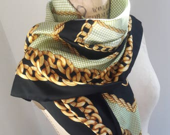 VINTAGE SUMMER CHAIN and Gingham Print Scarf