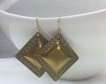 Brass earrings, handmade earrings, artisan earrings, hammered earrings, antique earrings, Square earrings