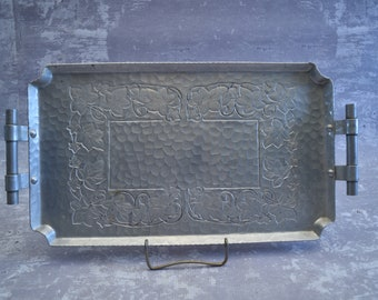 Vintage Hammered Aluminum Tray with Ivy Design