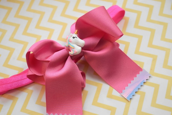 Unicorn pink grosgrain long tail cheer bow - Baby / Toddler / Girls / Kids Headband / Hairband  / Barrette / Hairclip / Easter