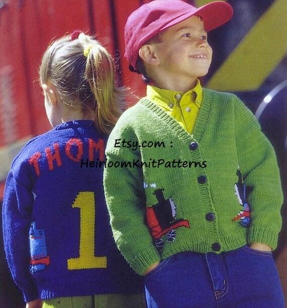 Baby Childs Thomas The Tank Engine Cardigan Knitting Pattern 6m