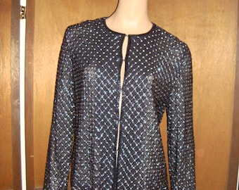 80's Doncaster Beaded Jacket Navy Blue & Silver