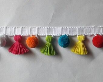 Multi coloured Tassel with pom pom fringe