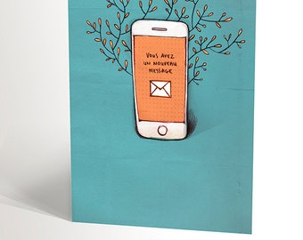 Iphone birthday card etsy greeting card with cell phone youve got mail iphone illustration turquoise and bookmarktalkfo Image collections