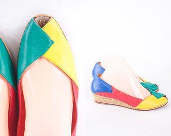 Color Block Platform Shoes, 70s Shoes, Peep Toe Leather Shoes, Espadrille Platform Sandals, Wedge Shoes, Red Shoes, Yellow Shoes, Blue Shoes