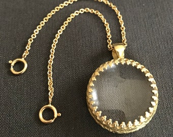 18k Gold 20x Magnifying Glass on Short Chain Sterling Silver by Thimbles by TJ Lane
