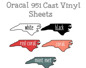 "Oracal 951 12x12"" Cast Adhesive Vinyl - 1 Sheet Oracal 951 Glossy Cast Vinyl, Black, White, Coral, Red Coral, Champagne Metallic, Ivory"