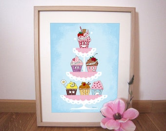 Art print illustration Cupcakes 30x40 cm
