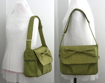Clearance SALE - Women Messenger bag with Bow in Pear Green Water-resistant Nylon, Diaper Bag, Day bag, Everyday bag, 11 Pockets - Bow Alex